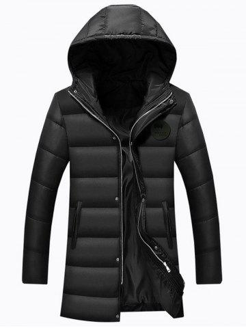 Trendy Applique Longline Zip Up Padded Coat