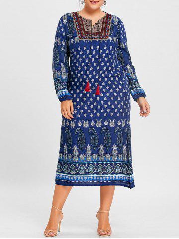 Buy Paisley Print Tassel Keyhole Plus Size Dress