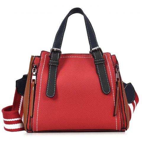 Outfits PU Leather Color Block Handbag With Strap