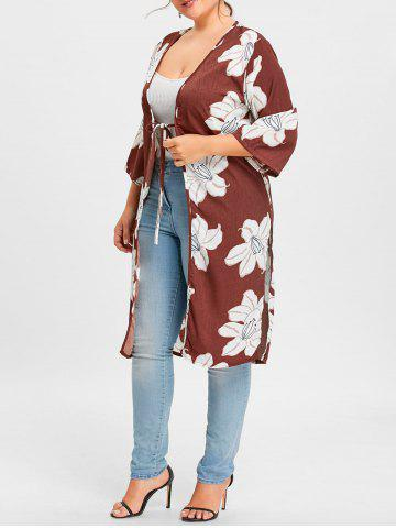 Fancy Plus Size Slit Floral Print Wrap Duster Coat