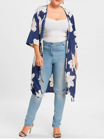 Best Plus Size Slit Floral Print Wrap Duster Coat