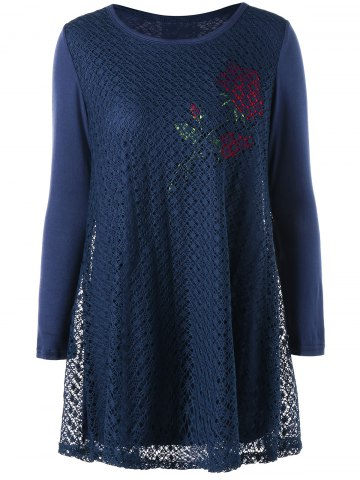 Shop Plus Size Cutwork Rose Pattern Tunic Blouse