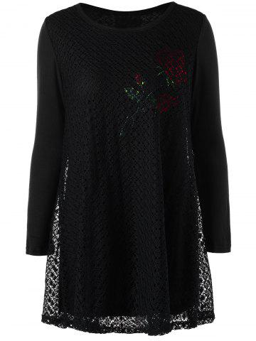 New Plus Size Cutwork Rose Pattern Tunic Blouse