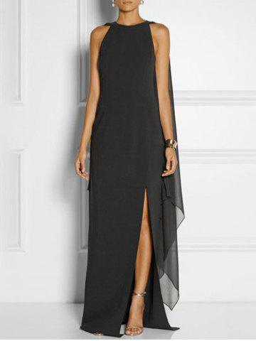 Side Slit Maxi Cape Dress