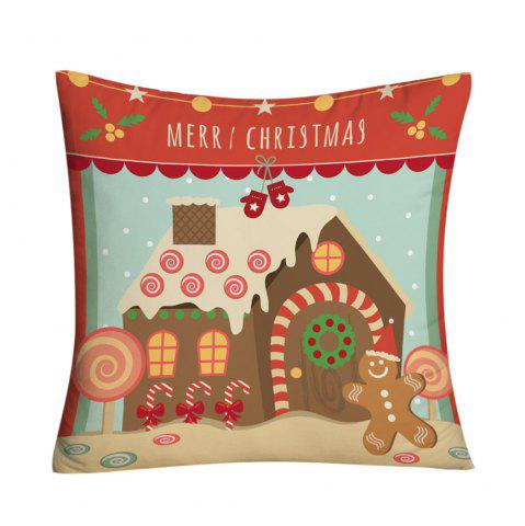 Store Christmas Candy House Printed Decorative Throw Pillow Case