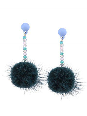 Outfits Artificial Fur Ball Beaded Drop Earrings