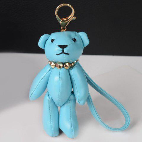 Trendy Faux Leather Cute Bear Keychain
