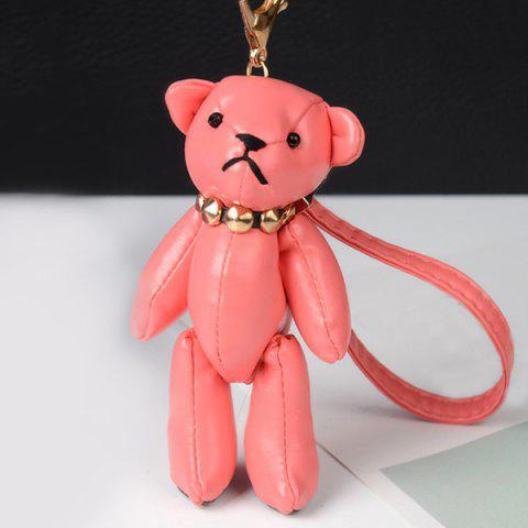 New Faux Leather Cute Bear Keychain