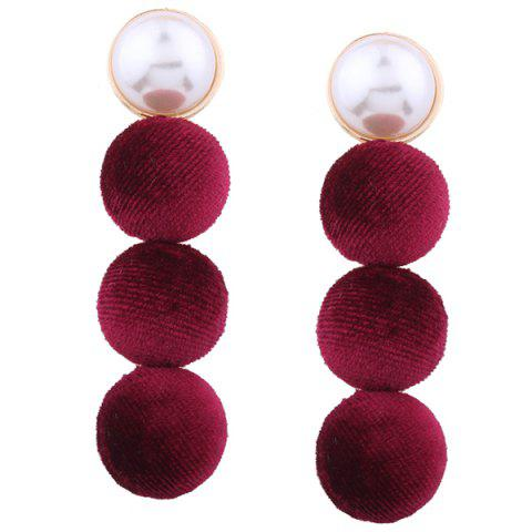 Outfits Faux Pearl Round Pompon Drop Earrings