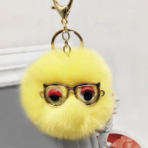 Online Cute Faux Fur Eyes Glasses Ball Keychain
