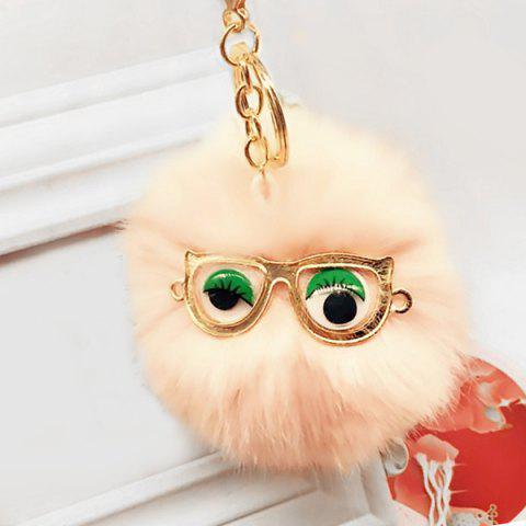 Affordable Cute Faux Fur Eyes Glasses Ball Keychain