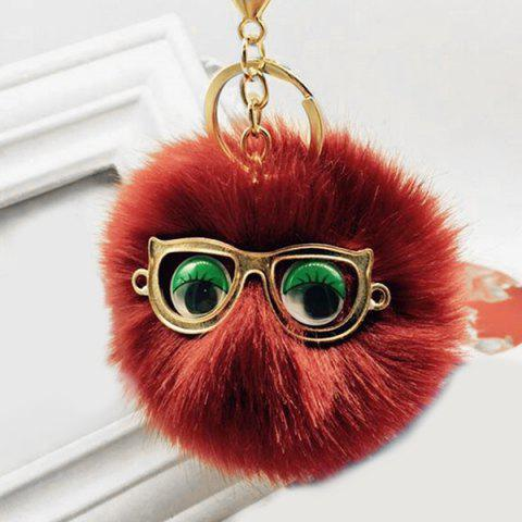 New Cute Faux Fur Eyes Glasses Ball Keychain