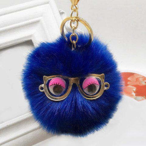 Cheap Cute Faux Fur Eyes Glasses Ball Keychain