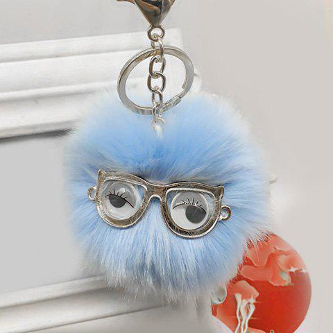 Latest Cute Faux Fur Eyes Glasses Ball Keychain