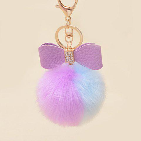 Affordable Two Tone Fuzzy Ball Rhinestone Bows Keychain