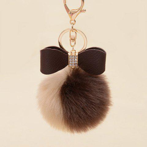 New Two Tone Fuzzy Ball Rhinestone Bows Keychain