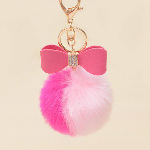 Trendy Two Tone Fuzzy Ball Rhinestone Bows Keychain