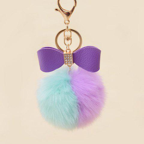 Outfit Two Tone Fuzzy Ball Rhinestone Bows Keychain