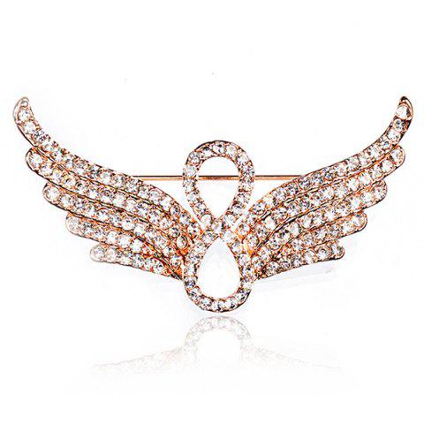 New Rhinestoned Infinite Angel Wings Brooch