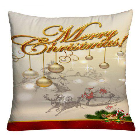 Online Christmas Sled Hanging Balls Print Decorative Pillowcase