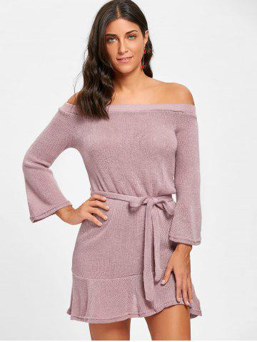 Off The Shoulder Knitted Short Dress