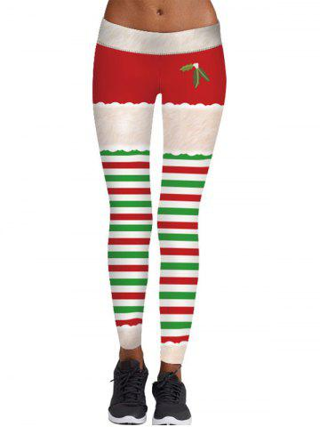Cheap Christmas Berry Print Striped Skinny Leggings
