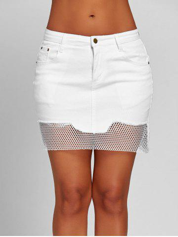 Shops Fishnet Panel Mini A-line Skirt