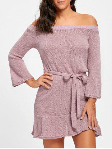 Hot Off The Shoulder Knitted Short Dress