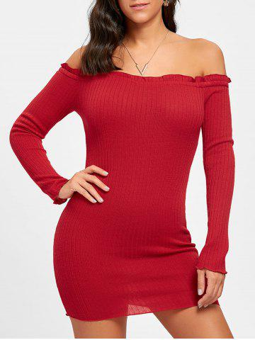 Outfit Ribbed Off The Shoulder Mini Dress
