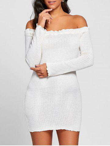Discount Ribbed Off The Shoulder Mini Dress