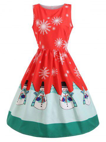 Shops Christmas Snowflake Snowman Print Midi Skater Dress