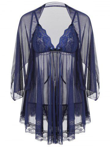 Latest Mesh Sheer Slip Babydoll with Shawl