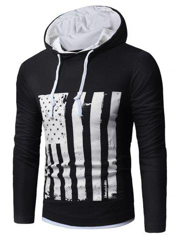 Cheap Long Sleeve Distressed American Flag Print T-shirt