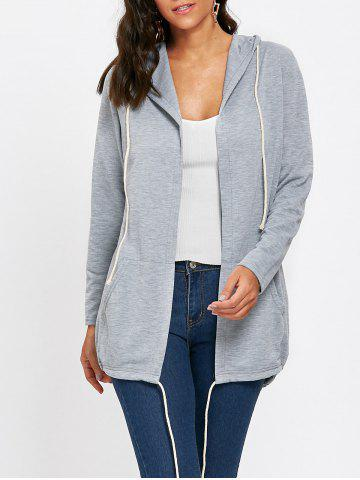 Outfit Drawstring Hooded Open Front Jacket