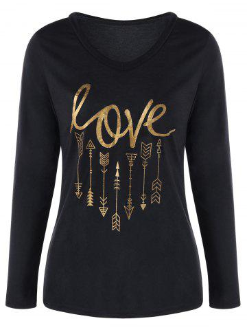 Trendy Long Sleeve V Neck Graphic Tee