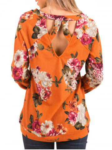 Flower Print Backless Long Sleeve Tee