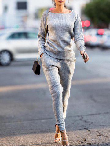 Fashion Long Sleeve Ribbed Sweat Suit