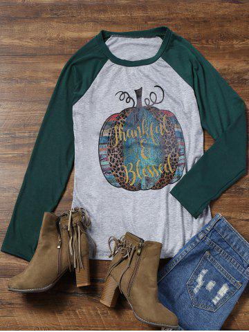 Thanksgiving Raglan Sleeve Graphic Print Tee
