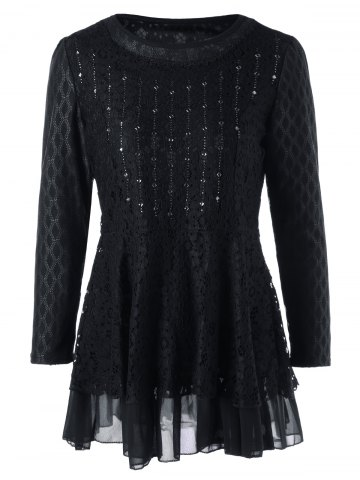 Best Plus Size Embellished Lace Layered Peplum Top