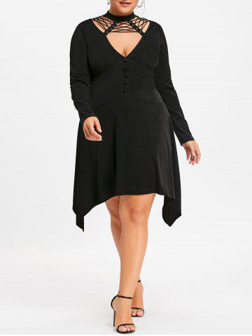 Black 5xl Plus Size Long Sleeve Empire Waist Dress Rosegal