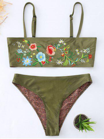 Outfits Floral Embroidered Cami Tube Bikini Suit