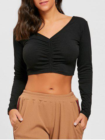 Outfit V Neck Long Sleeve Ruched Crop Top