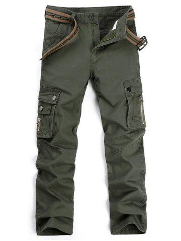 Cheap Straight Leg Multi Pockets Cargo Pants