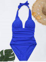 Halter One Piece Ruched Swimsuit -
