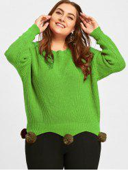 Plus Size Chunky Knitted Tunic Sweater with Pompous -