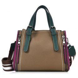PU Leather Color Block Handbag With Strap -