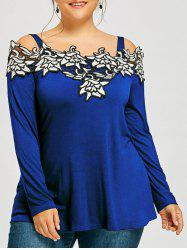 Plus Size Cold Shoulder Embroidered Long Sleeve T-shirt
