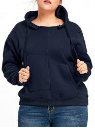 Plus Size Drop Shoulder Fleece Lined Pullover Hoodie -