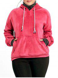 Plus Size Embroidered Funnel Neck Velvet Hoodie -