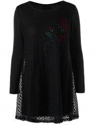 Plus Size Cutwork Rose Pattern Tunic Blouse -